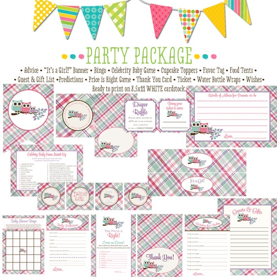 Owls Baby girl family of owls item 139 package AS IS Matching games ticket banner bingo, thank you card, water bottle wraps, cupcake toppers