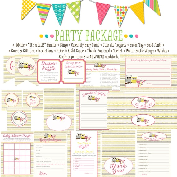 owl baby shower girl item 1348 party package AS IS Matching games, ticket, banner bingo, thank you card, water bottle wraps, cupcake toppers