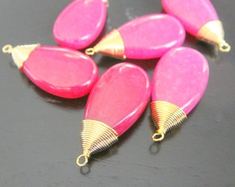 Jewelry Supplies Matte Gold Plated Hot pink Crystal Glass Pendant, Pink Stone  Pendant, 2 pc, B14635