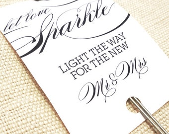 Printable Sparkler Tags - Let Love Sparkle - 2x3 Printable Sparkler Tags - Sparkler Send Off  for Wedding Reception