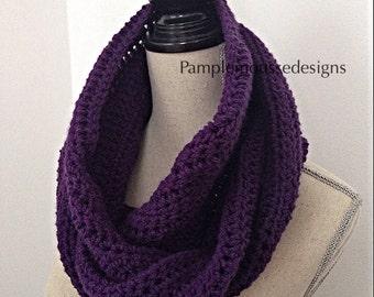 Crochet infinity scarf . Purple cowl. Neck warmer. Neck wrap. Kerchief,capuche