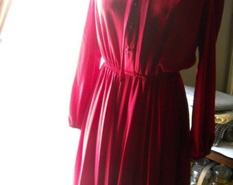 Red Secretary Dress Polyester Pleated Skirt Ruffled High Collar Button Front Elastic Waist Small to Medium