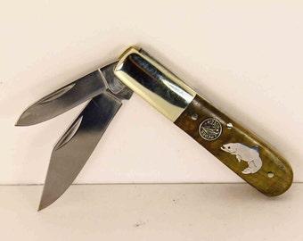 Custom hand cut sterling silver fish inlaid pocket knife