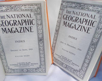 SALE-Vintage 1919 National Geographic Magazine set, Volume XXXV, January thru December