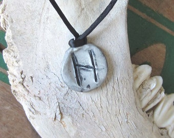 rune necklace HAGALAZ runes pendant wicca wiccan jewelry pagan magic amulet viking runes elder futhark witchcraft occult magic