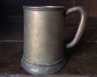 Vintage English Drinking Goblet Tumbler Mug with Glass Bottom circa 1940-50's / English Shop
