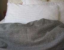 Solid blueish gray grey navy blue plaid linen bedding QUEEN or KING duvet cover - men's bedding - linen modern Twin XL college dorm bedding