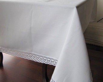 Tablecloth Cream ecru or white duck linen bobbin lace edge trim - shabby chic country style table cloth large W 70 by L 102,120,144