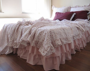 Ruffled Bedspread coverlet summer blanket Turkish- KING 120x120 oversized Queen Twin-Navy Burgundy floral cotton linen shabby chic bedding