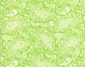 """20"""" of Folklore Peacock Paisley Celery by Lily Ashbury  for Moda"""
