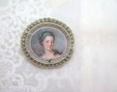 cameo brooch - sage green and warm grey brooch - lady portrait - felt brooch - free shipping - victorian style brooch