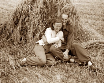 Lovers in the Hay - Greeting Card from Vintage Photo