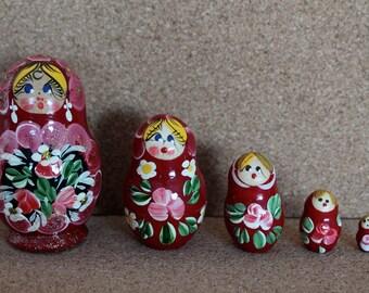Babushka Nesting Doll Matryoshka russian stacking  dolls set of 5