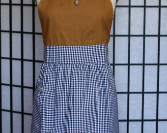 Apron Dress  - plaided print with collar - style ZONO - FULLY LINED