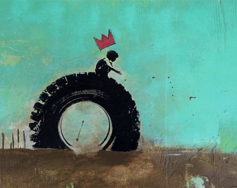 "Original Painting by Ryan Gilliland ""Boy King on his perch"""