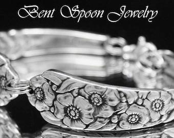 Poppy Flower Spoon Bracelet, Spoon Jewelry, Silverware Jewelry, Silverware Bracelet, Antique Bracelet,
