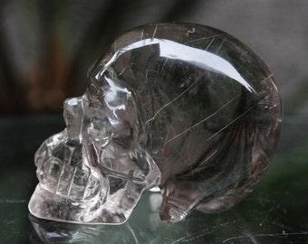 "TOP CLEAR  2.1"" Natural Rutilated Smokey Quartz Carved Crystal Skull 3.35 oz C0375"