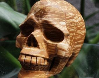 "AMAZING 3.6"" Natural Serpeggiante Carved Crystal Skull 15.34 OZ C0512"