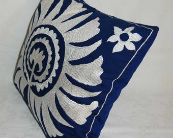 Beautiful  handmade Samarkand  pattern Suzani Pillow Cover embroidered   pillowslip 19.5x19.5 inch cushion cover
