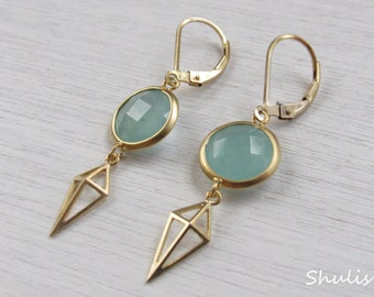 Long Edgy Rhombus Earrings with Opal Pacific Blue Glass Stone