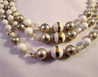 Vintage Holiday Necklace Triple Strand Gorgeous