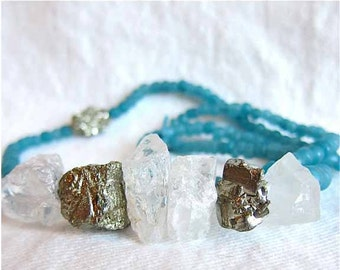 Crystal Necklace, Blue Necklace, Raw Crystal Necklace, Pyrite Necklace, Recycled Beads, Rough Crystal, Chunky Necklace, Raw Cut Crystal