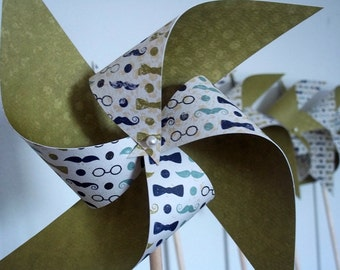 Boys' Dashing Paper Pinwheels. Mustaches Bowties Spectacles. Cream Green Navy & Light Blue. 8 Large Paper Pinwheels.