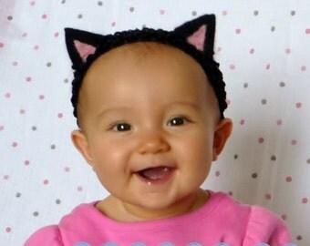 Needle felted Cat Ears Headband - black and pink on black headband hand sewn no glue soft wool felt baby newborn cute halloween costume