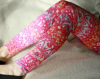 CLEARANCE SALE Pink colorful tribl print leggings