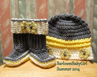 Buggs - NEW Crochet Flower Accent Bucket Hat and Booties w/ Detachable Band in Grey, Yellow, and Ivory