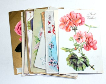 15 Early 1900s Greeting Postcard Assortment - Shades of Pink - Antique Used Postcards