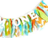 Aqua, Lime and Orange Birthday Party Decor - Monsters Inc. - Little Monster - Banner - Garland - Photoshoot Prop
