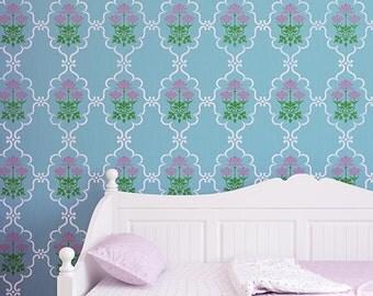 Indian Trellis & Lotus Flower Allover Wall Stencil for Allover Wallpaper Look