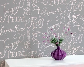 Large Script Allover Typography Wall Stencil for Easy Stenciled DIY Decor
