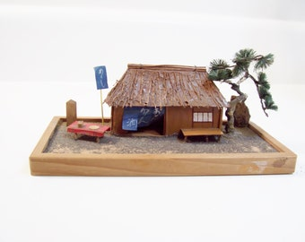 Vintage Miniature Tiki House Diorama Scene With Thatch Roof and Set Table Mid Century Japan