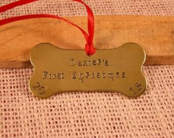 Custom Bone Handstamped Puppy's First Christmas Ornament-Dog's First Christmas Ornament-Bone Ornament