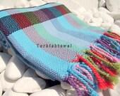 Turkishtowel-Hand woven,20/2 cotton warp and weft Rainbow,Diamond Turkish Bath,Beach Towel-Turquoise,Black
