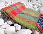 Turkishtowel-Hand woven,20/2 cotton warp and weft Rainbow,Diamond Turkish Bath,Beach Towel-Olive Green,Red