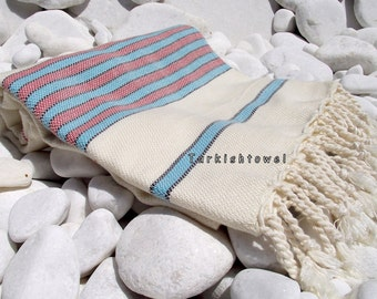 Turkishtowel-Hand woven,warp 20/2 bamboo,weft 20/2 cotton Turkish Bath,Beach Towel-Turquoise,red,black stripes on natural cream