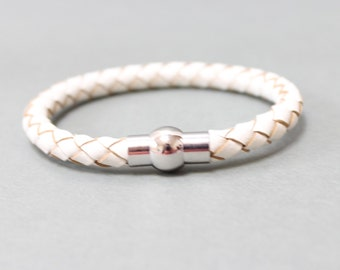 Braided Leather bracelet with magnetic closure(White)