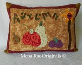 "Autumn Pumpkin Pillow - 15"" x 20"" Original Appliqued Design"