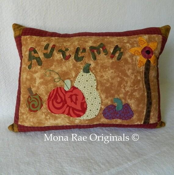 "Autumn Pumpkin Pillow - 15"" x 20"" Original Appliqued Design"