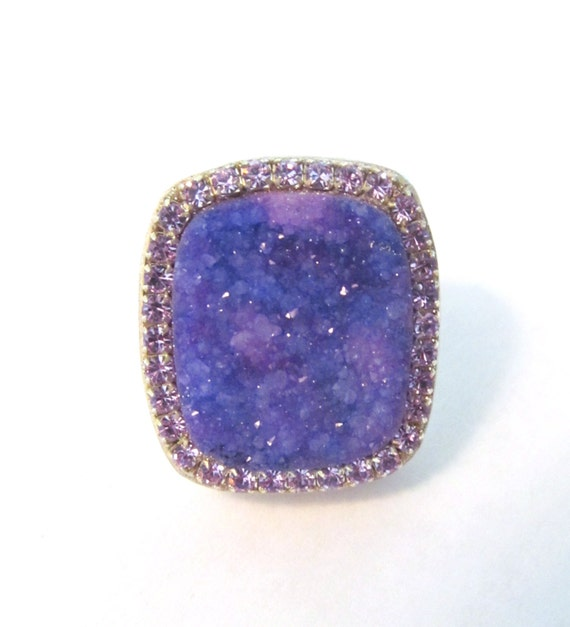 Lavender Tanzanite: Purple Druzy And Tanzanite Crystal Sterling Silver Ring