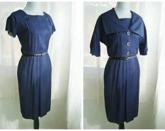 Wiggle Dress with Matching Crop Jacket, Beautiful 1960s's Two-Piece Set in Navy Blue, Size Medium