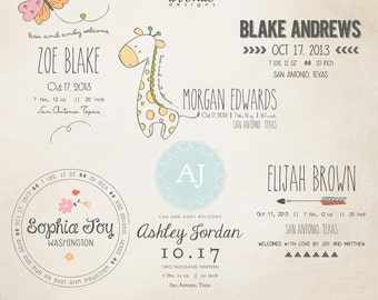 INSTANT DOWNLOAD - Birth Announcement Words Overlays vol.6