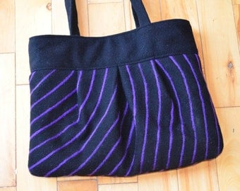 Purse Black Purple Felted Stripes Handmade