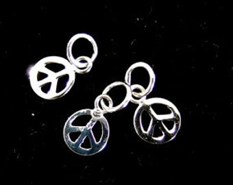 6 of 925 Sterling Silver Peace Sign ,Tiny Charms 6 mm. ,Polish Finished  :th1959