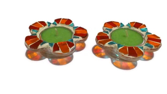 Glass Votive Candle Holders, Glass Mosaic Holders, Votive tealight, luminary holders, Orange Red Turquoise