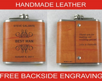 Set of 11 Groomsmen Flask, Handmade Leather, Personalized Flask with FREE Backside Engraving!