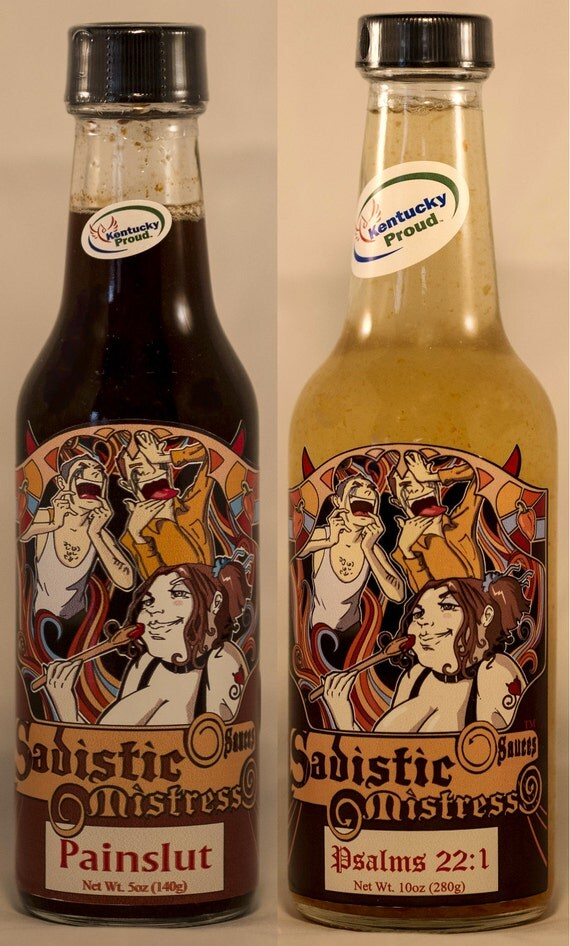 "Sadistic Mistress Sauces wickedly hot 2 pack ""Psalms 22:1 Reserve"" & ""Painslut"" 5oz bottle hot sauce w/ ghost peppers and trinidad scorpions"